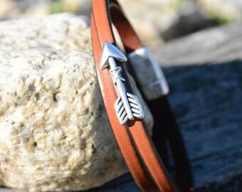 ARROW BRACELET, Leather Wrap Bracelet, Optimism Arrow Bracelet,Bridal Party Gifts, Grad Gifts, Stackable bracelets,Grad gifts,