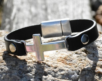 Silver Cross Bracelet, Leather and Silver Cross Bracelet, His or Her's Silver Cross bracelets, Bridal Party Gifts, Wedding party gifts,