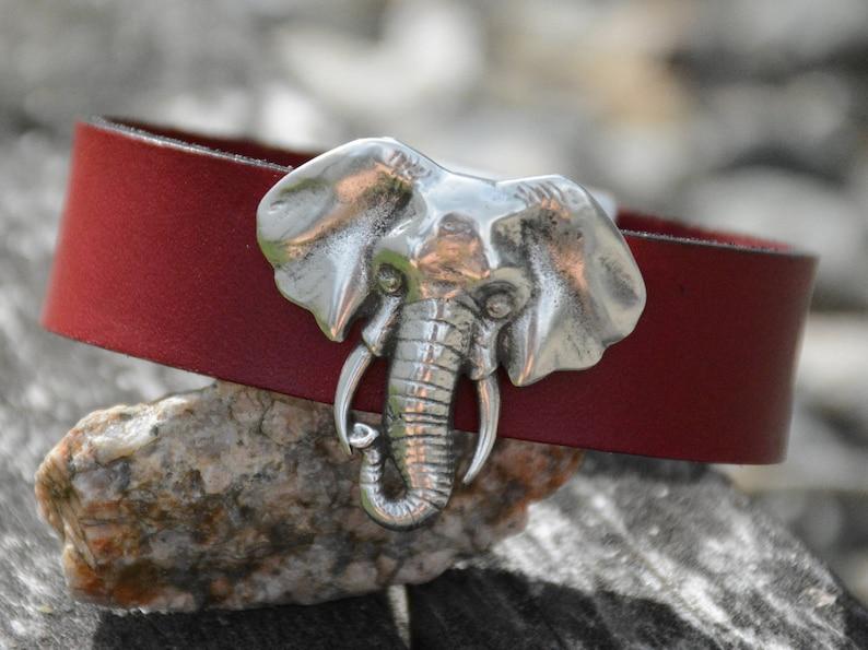 b4735fa13fd7a ELEPHANT BRACELET LEATHER Cuff Good luck bracelet Silver