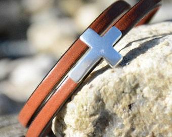 Silver Cross Bracelet, Leather Wrap Cross Bracelet, His or Her's Silver Cross bracelets, Bridal Party Gifts, Stackable bracelets,Grad gifts,