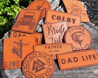 leather patch only- leather patch from our shop- laser engraved leather patches-USA made-genuine leather patches- backpack patch- name patch