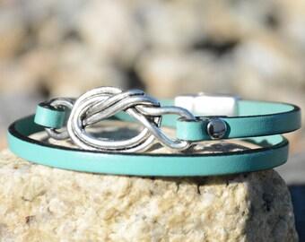 LOVE KNOT, Eternity Knot Bracelet, Celtic Knot, Leather Wrap Bracelet, Nautical Jewelry, Bridesmaids Gifts, Grad Gifts,  Minimalist Style