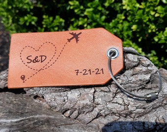 Anniversary gift Leather bag tags-personalized couple gift luggage tags -ID Luggage tags-wedding gift luggage tag-valentines bag tag gifts-