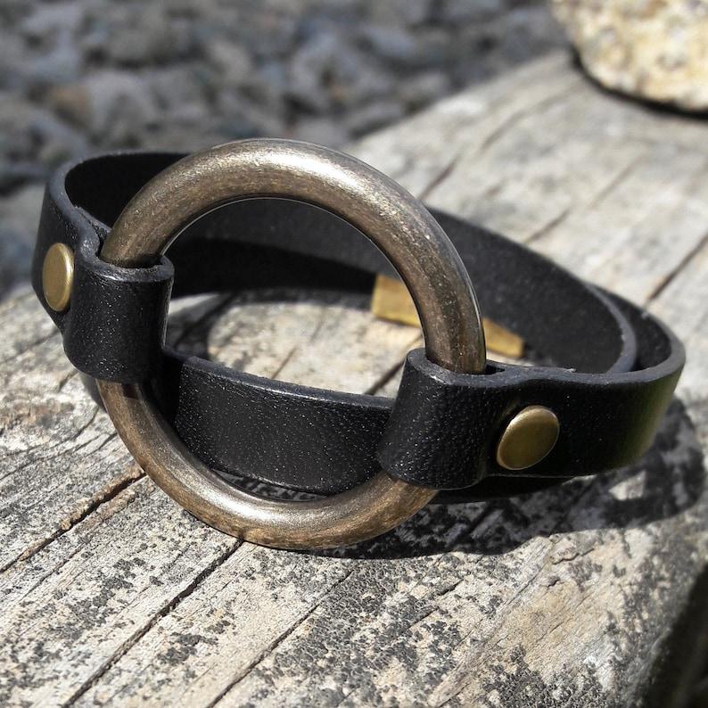 Brass Ring jewelry Boho Style unisex bracelet,southwest bracelet,Grad Gift Birthday gifts Brass ring bracelet,ring leather wrap bracelet