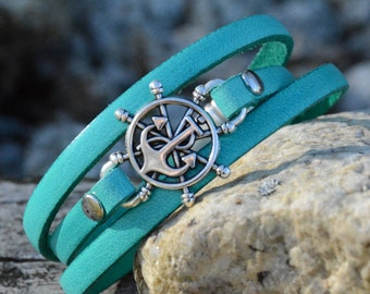 ANCHOR Bracelet, NAUTICAL  BRACELETS, Ships Wheel Bracelet, Leather Triple Wrap Bracelet , Navy, Bridesmaids gifts, Wedding Party gifts,