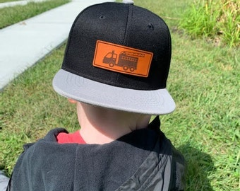 Fire Truck Infant Toddler and kids hats -Fire Truck/Fireman snapback baby hats - flat bill toddler kids hats - Leather patch Kids hats