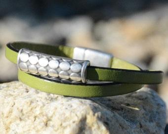 SILVER  BAR Bracelet, Leather WRAP Bracelet,  Bridesmaids Gifts, Minimalist Jewelry, Bubble Bar Bracelet, Birthday Gifts, Stackable Bracelet