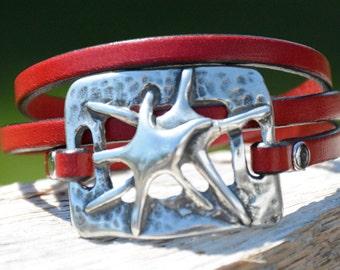 STARFISH JEWELRY, Nautical LEATHER Bracelet, Silver Nautical Bracelet, Sea Star Bracelet, Wrap Bracelet, Bridesmaids Gifts, beach jewelry,