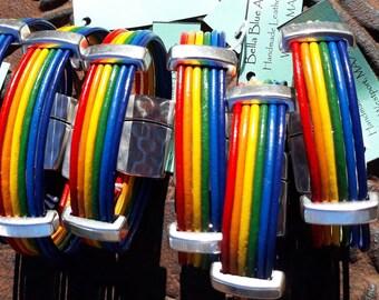 LGBT community bracelet, Pride month gift, Rainbow Pride leather bracelet, LGBTQ gift, Gay bracelet, gift for him, gift for her, unisex gift