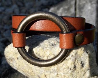 RING BRACELET, LEATHER Wrap Ring Bracelet, Joanna Gaines style, Vintage Style ,Leather Bracelet, Boho  style, Grad Gift, Birthday gifts,