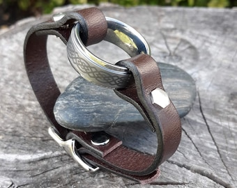 Wear a Ring Leather bracelet - Add your own ring leather bracelet- adjustable buckle leather bracelet- unisex bracelets - ring leather cuff