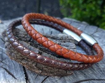 Mens braided leather bracelet- 3rd Anniv Gift-Braided leather minimalist bracelet-gift for him-boyfriend gift-Unisex Jewelry-birthday gift