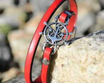 ANCHOR Bracelet, LEATHER WRAP Bracelet, Nautical Bracelet, Ships Wheel Bracelet,, Navy, Bridesmaids gifts, Wedding Party gifts,