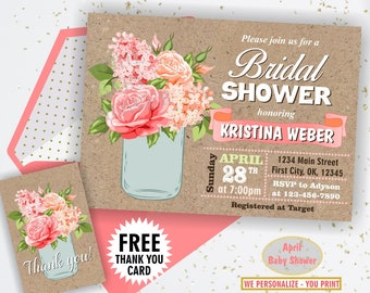 c73bcdbd1b0e Floral   bridal   shower   flowers   invitation   invite   rose   lilac    wedding   spring   summer   rustic   mason jar   pink   peach  MJ2
