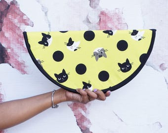 Half Moon Clutch Round Handmade Womens Clutch in Cotton Fabric Cat Fabric Polk-a-dots