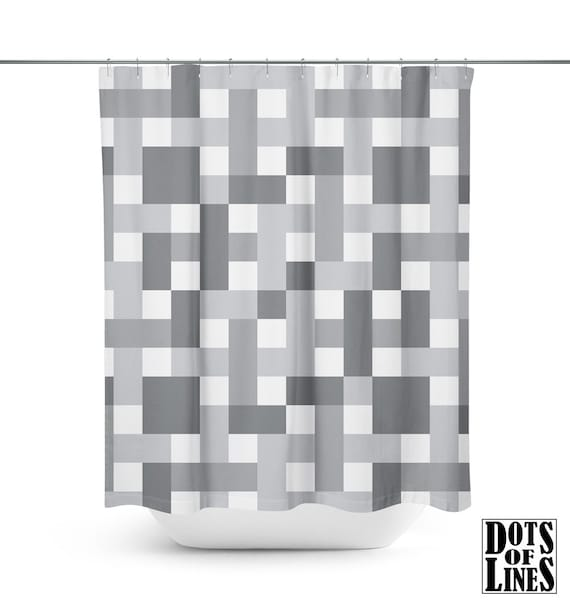 PLAID SHOWER CURTAIN Modern Design Shower Curtain White And