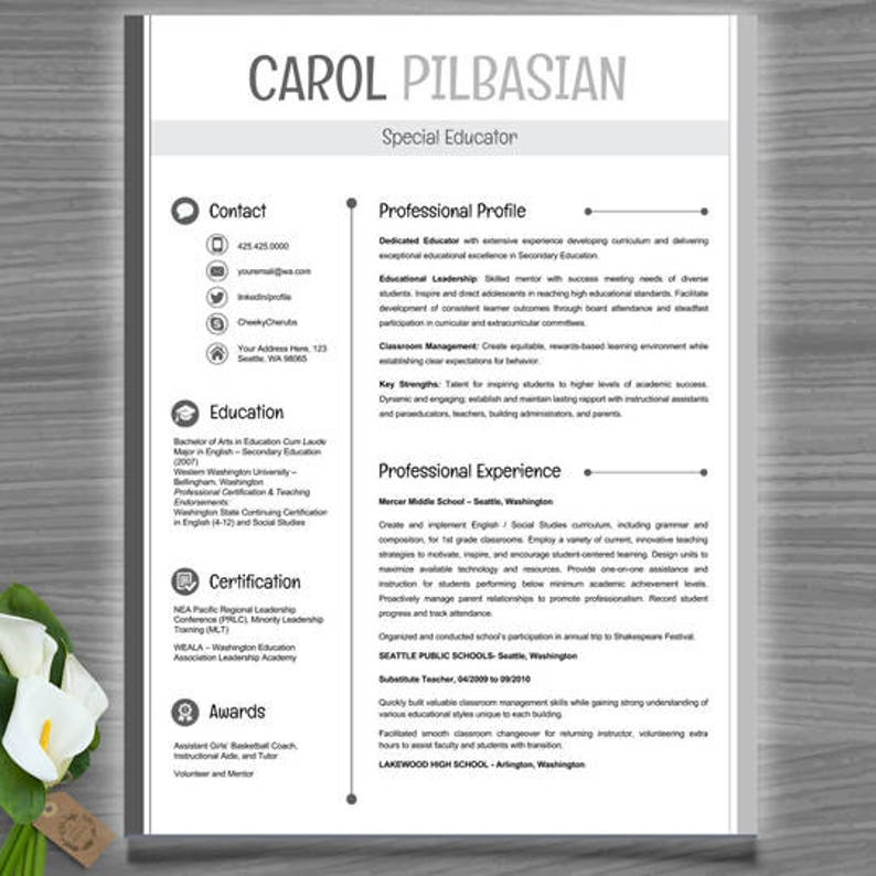 Teacher Resume Template | CV Template | PowerPoint EDITABLE (clean look)