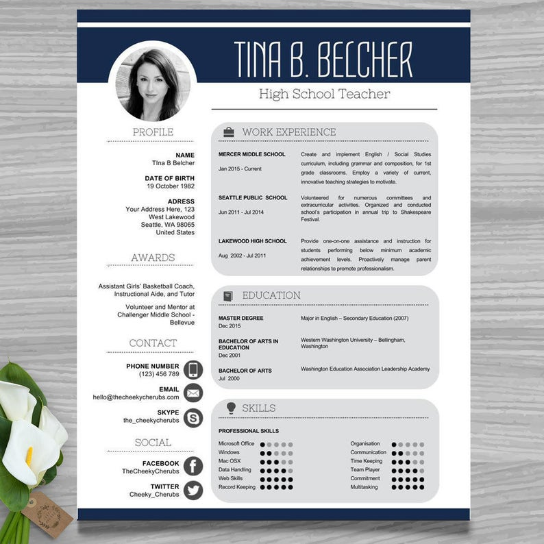 Teacher Resume Template With Picture CV
