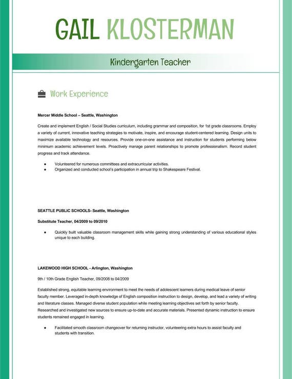 Teacher Resume Template Cv Template Powerpoint Editable 2 Colors