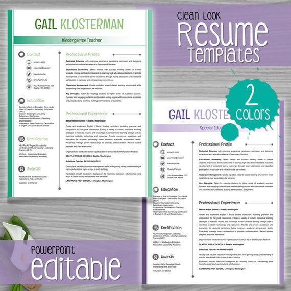 Teacher Resume Template Cv Template Powerpoint Editable 2 Colors