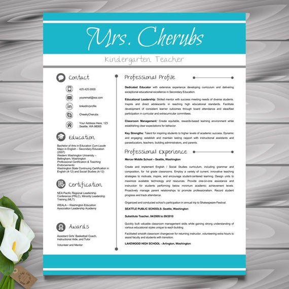 Teacher Resume Template CV Template PowerPoint EDITABLE