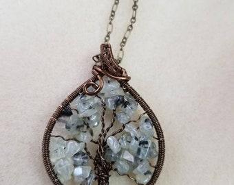 Prehnite wire wrapped Tree of Life pendant