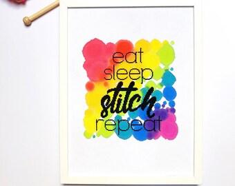 Modern Cross Stitch Kit - Eat, Sleep, Stitch, Repeat