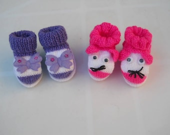 set of 2 pairs of newborn baby booties