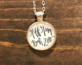 """TCU """"Riff Ram Bah Zoo"""" Bezel Pendant Necklace Silver Handmade Jewelry Texas Christian University Horned Frogs Fan Gift"""