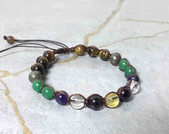Beaded Bracelet For Mens, Good Luck, Make Money, Business Success, Attract Wealth, Prosperity, Adjustable Gemstone Bracelet