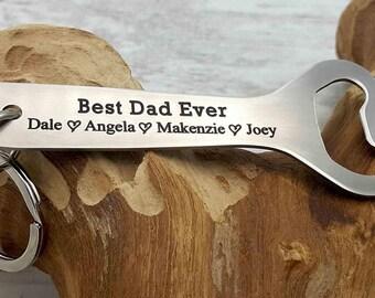 Custom Deep Engraved Stainless Steel Bottle Opener Personalized Bottle Opener Gift For Him Best Dad Ever Gift for Daddy Birthday Gift
