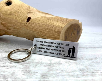 Gift for Son Inspirational Deep Engraved Stainless Steel Keychains Any Quote or Text of your Choice Graduation Gift for Him