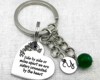 Personalized Sister Gift, Sister Keychain, Best Friend Sister Gift, Engraved Heart Sister Birthday Gift Keychain, Christmas Sister Gift