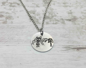 Drawing Necklace, Kids Artwork Necklace, Custom Handwriting, Memorial Necklace, Signature Jewelry, Personalized Gift For Mom, Gift for Dad