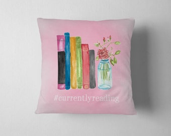Currently Reading Pillow - Bookworm Throw Pillow - Bookish Home Decor - 18 x 18 Throw Pillow WITH Insert