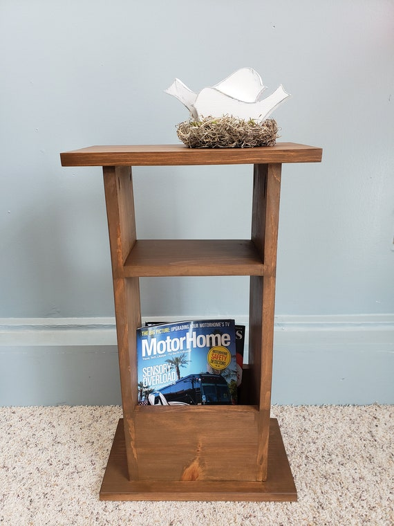 Small Side Table Narrow End Table Magazine Rack Etsy