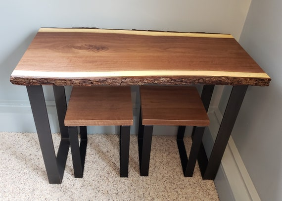 Live Edge Table and Stools Set, Kitchen Table and Chairs Set, Walnut Table  with Stools Set