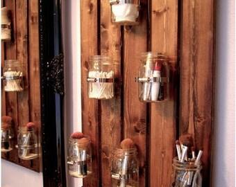 Wood backer Mason Jar Storage