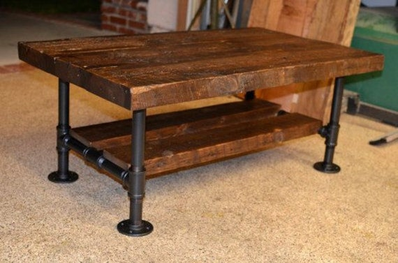Bon Reclaimed Solid Wood U0026 Iron Pipe Coffee Table | Etsy