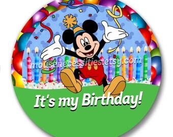 "Mickey ""It's my Birthday!"" Disney Inspired 3"" Pinback Button"