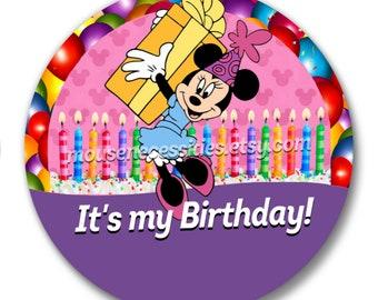 "Minnie ""It's my Birthday!"" Disney Inspired 3"" Pinback Button"