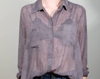 Sheer Grey Blouse (S/M)
