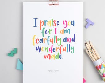 Christian Gifts | Christian Wall Art | Psalm 139 | Fearfully and Wonderfully Made | Baptism Gifts | Nursery Gift | Make Today Beautiful