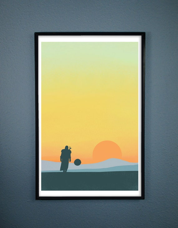 Minimalist Poster of The Mandalorian and Baby Yoda Christmas Gift