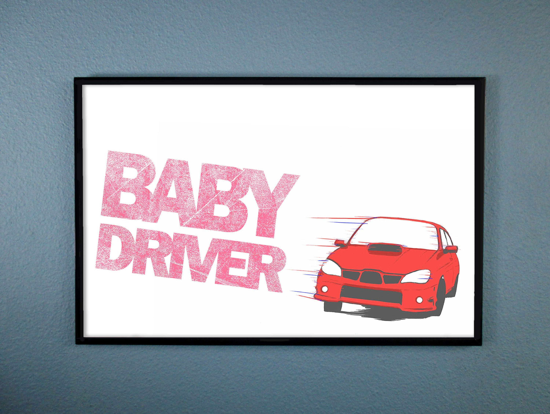 Baby Driver Red Subaru WRX Movie Poster