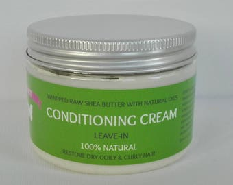Shea Butter Conditioning Cream, Organic Whipped Hair Butter, Moisturizing and Styling Cream