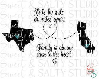 side by side or miles apart family is always close to the heart (with USA states) digital file