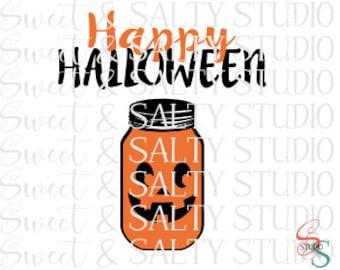 happy halloween mason jar digital file