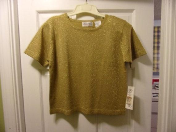 Vintage Gold Glitter Pull Over Short Sleeves Top