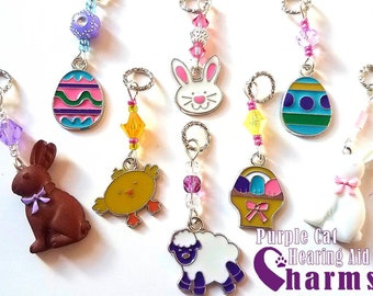 Hearing Aid Charms:  Easter Themed Charms with Czech Glass Accent Beads!  Easter Bunnies, Easter eggs, chicks and more! Styles sold separate